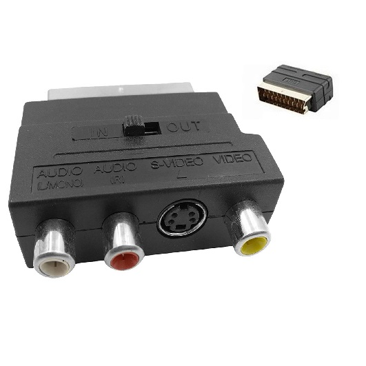 SCART To 3 RCA Composite S Video Connector Adapter