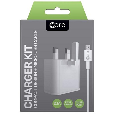 Core Single Compact Charger Kit for Android 2.1A Fast