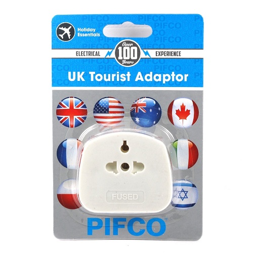 Compact UK Tourist Adaptor, International to UK 3 Pin Main Socket Converter