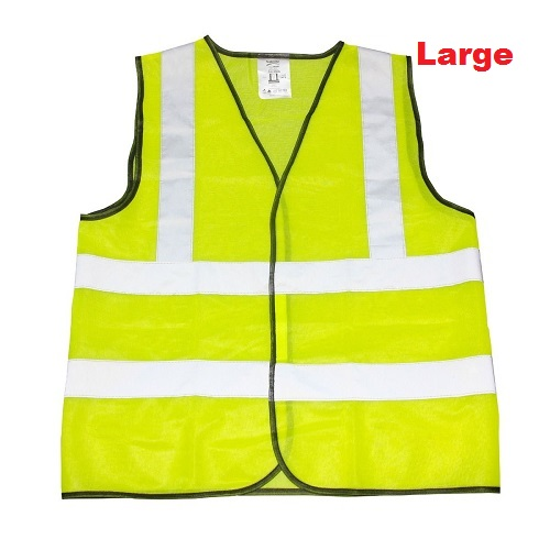Yellow High Viz Visibility Reflective Strips Vest Waistcoat Safety Jacket Large
