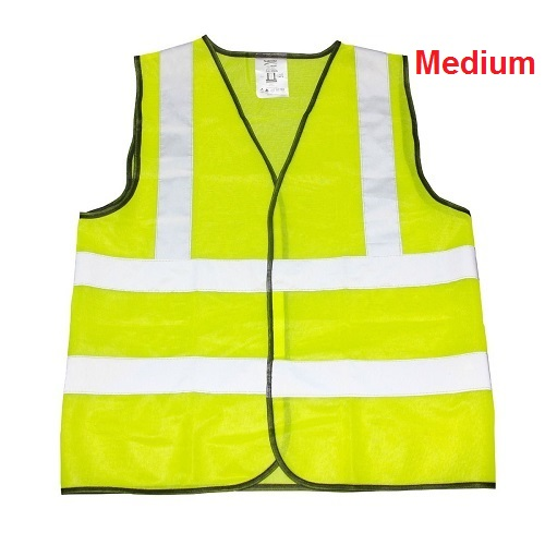 Medium Yellow High Viz Visibility Reflective Strips Vest Waistcoat Safety
