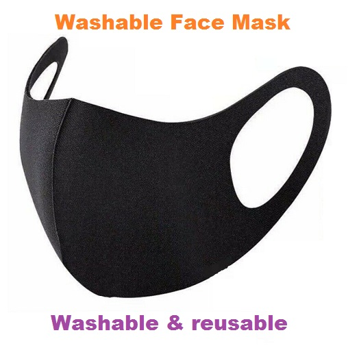 Mask Washable Face Mask Protective Covering Reusable Black Adult Unisex Ice Silk